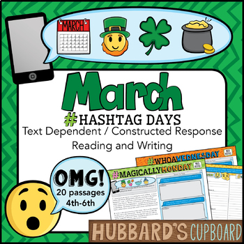 20 March Reading Passages - Google Classroom & PDF/ St. Patrick's Day / Emojis