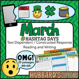 20 March Passages- March Writing Prompts- March Activities -Google Classroom-Pdf