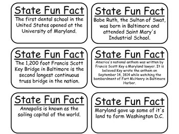 20 Maryland State Fact Flashcards. 1st Grade-7th Grade