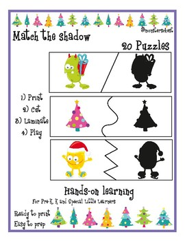 20 Match the shape Christmas Puzzles. For Prek, K And special education.