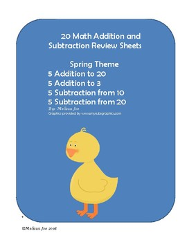 Adding and Subtracting Review Sheets Spring Theme