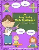 End of the year activities Brainy Math Challenges Add Subt