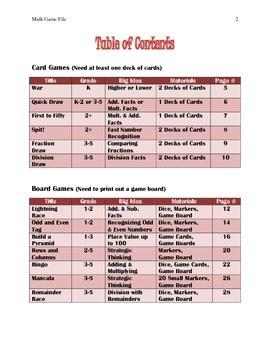 20 Math Games, Grades K, 1, 2, 3, 4, & 5