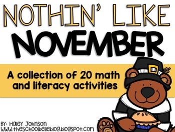 20 Math and Literacy Center Activities for Thanksgiving and November!