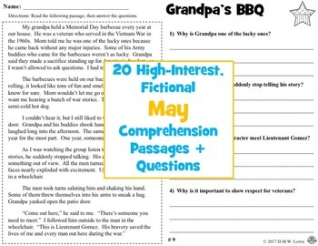 20 May Reading Comprehension Passages: Spring Reading Comprehension