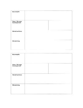 20 Metaphors and Graphic Organizer