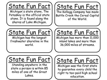 20 Michigan State Fact Flashcards. 1st Grade-7th Grade