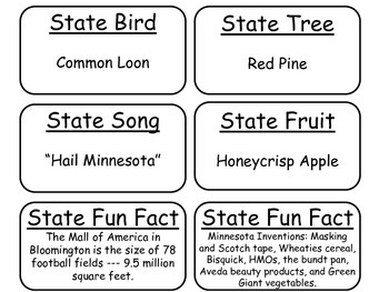 20 Minnesota State Fact Flashcards. 1st Grade-7th Grade