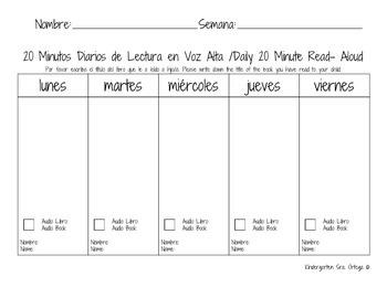 20 Minutos Diarios de Lectura en Voz Alta /Daily 20 Minute Read- Aloud