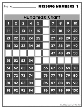 20 Missing Number Patterns 100s Chart Worksheets