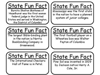 20 Mississippi State Fact Flashcards. 1st Grade-7th Grade