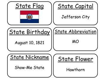20 Missouri State Fact Flashcards. 1st Grade-7th Grade
