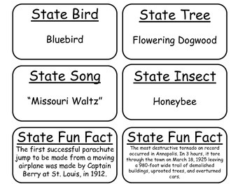 20 Missouri State Fact Flashcards. 1st Grade-7th Grade