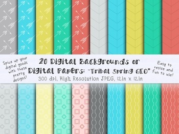 20 Modern and Colorful Digital Backgrounds/Digital Papers/ Clip Art