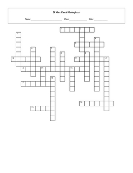 20 More Choral Music Masterpieces Crossword with Key