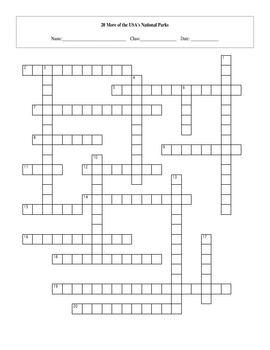 20 More of the USA's Great National Parks Crossword with Key