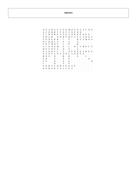 20 More of the USA's Great National Parks Word Search with Key