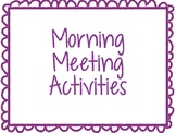 20 Morning Meeting / Circle Time Activities for PreK-2