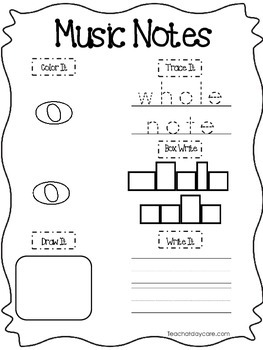 20 Music Notes, Rests, and Symbols Worksheets. Preschool-2nd Grade. Tracing.