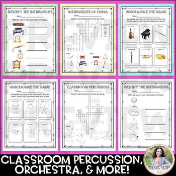 Musical Instrument Worksheets & Crossword Puzzles for Elementary Music Students