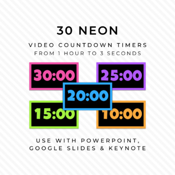 30 NEON & BLACK Video Countdown Timers - For PowerPoint