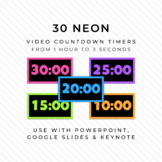 30 NEON & BLACK Video Countdown Timers - For PowerPoint, G