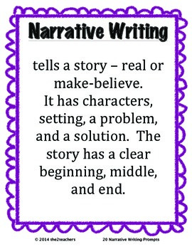 Writers Workshop:  Narrative Writing - 20 Narrative Writing Prompts
