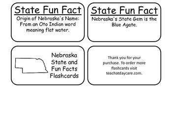 20 Nebraska State Fact Flashcards. 1st Grade-7th Grade