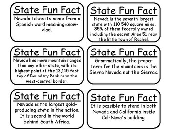 20 Nevada State Fact Flashcards. 1st Grade-7th Grade