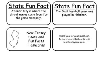 20 New Jersey State Fact Flashcards. 1st Grade-7th Grade