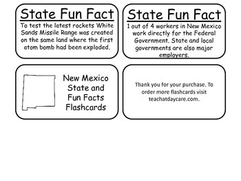 20 New Mexico State Fact Flashcards. 1st Grade-7th Grade