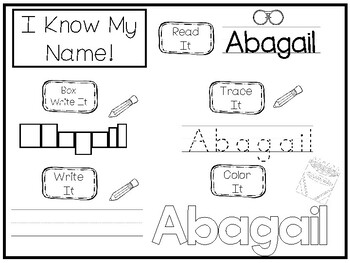 20 No Prep Abagail Name Tracing and Activities. Non-editable. Preschool-KDG Ha