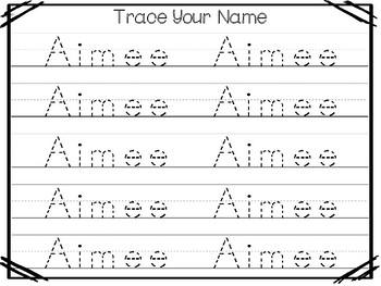 20 No Prep Aimee Name Tracing and Activities. Non-editable. Preschool-KDG Handwr