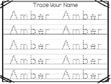 20 No Prep Amber Name Tracing and Activities. Non-editable. Preschool-KDG Handwr