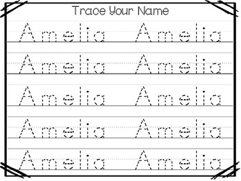 20 No Prep Amelia Name Tracing and Activities. Non-editable. Preschool-KDG Handw