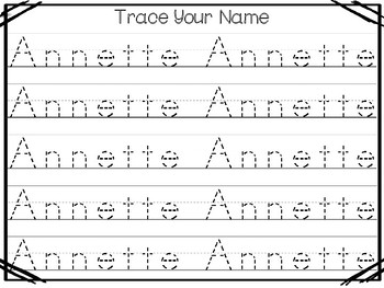 20 No Prep Annette Name Tracing and Activities. Non-editable. Preschool-KDG Hand