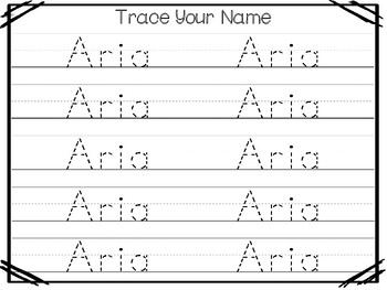 20 No Prep Aria Name Tracing and Activities. Non-editable. Preschool-KDG Handwri