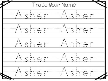 20 No Prep Asher Name Tracing and Activities. Non-editable. Preschool-KDG Handwr