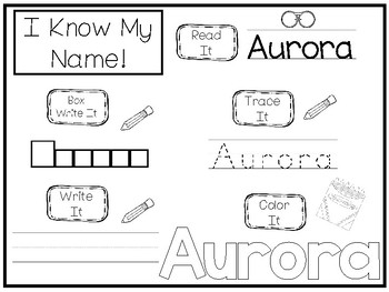 20 No Prep Aurora Name Tracing and Activities. Non-editable. Preschool-KDG Handw