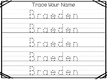 20 No Prep Braeden Name Tracing and Activities. Non-editable. Preschool-KDG Hand