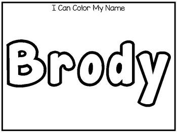 20 No Prep Brody Name Tracing and Activities. Non-editable. Preschool-KDG Handwr