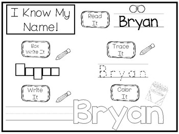 20 No Prep Bryan Name Tracing and Activities. Non-editable. Preschool-KDG Handwr