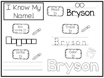 20 No Prep Bryson Name Tracing and Activities. Non-editable. Preschool-KDG Handw