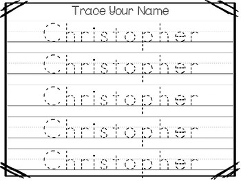 20 No Prep Christopher Name Tracing and Activities. Non-editable. Daycare Name A