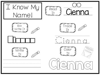 20 No Prep Cienna Name Tracing and Activities. Non-editable. Daycare Name Activi