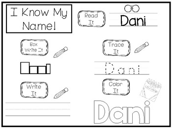 20 No Prep Dani Name Tracing and Activities. Non-editable. Preschool-KDG Handw
