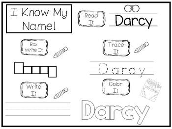20 No Prep Darcy Name Tracing and Activities. Non-editable. Preschool-KDG Handw