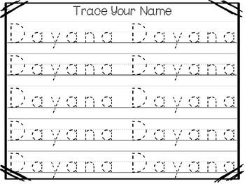 20 No Prep Dayana Name Tracing and Activities. Non-editable. Preschool-KDG Handw