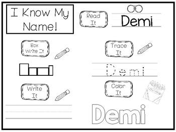 20 No Prep Demi Name Tracing and Activities. Non-editable. Preschool-KDG Handw