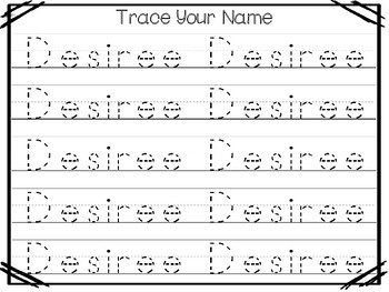 20 No Prep Desiree Name Tracing and Activities. Non-editable. Preschool-KDG Hand